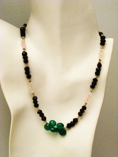 NK008       Rose Quartz and Garnet Necklace with a Green Onyx center. Sterling Silver