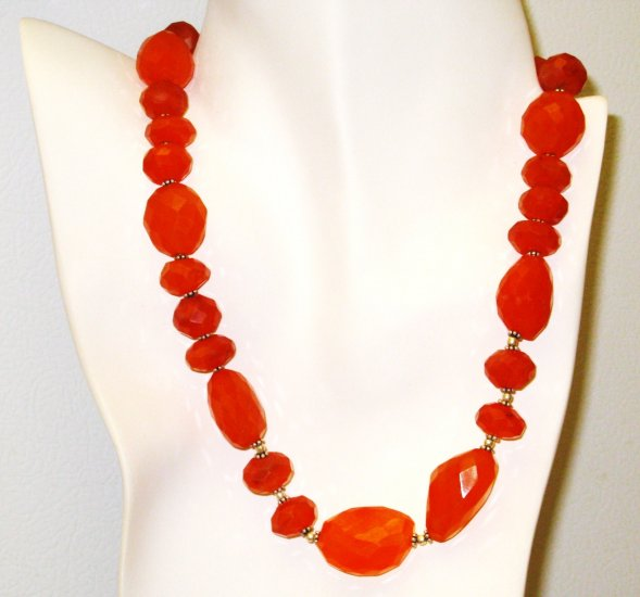 NK013       Carnelian Necklace interlaced with sterling silver beads. Sterling silver clasp.