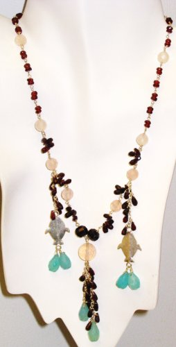 NK019       Multistone Necklace with a Garnet and Rose Quartz Strand. Sterling Silver