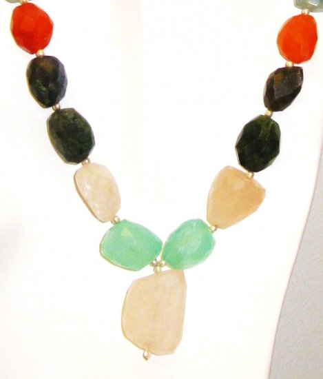 NK031       Mixed Stones (Rose Quartz, Garnet, Carnelian, Chalcedony, and Labradorite) Necklace