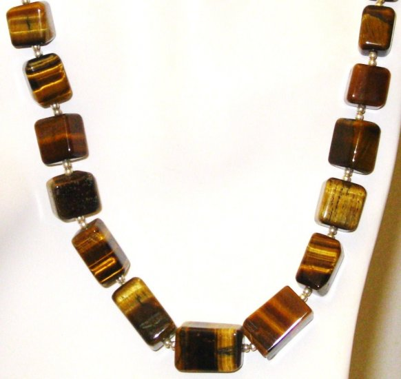 NK036       Tiger's Eye Necklace in Sterling Silver