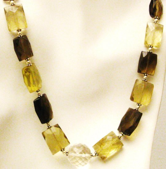 NK038       Smoky Quartz, Citrine and Amethsyt Necklace. Sterling Silver Beads and Clasp.