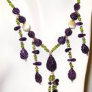NK042       Peridot and Amethyst Necklace in Sterling Silver