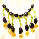 NK044       Amethsyt, Peridot, Citrine and Onyx Necklace in Sterling Silver