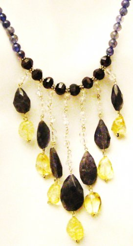 NK045       Labradorite, Citrine and CZ Necklace in Sterling Silver
