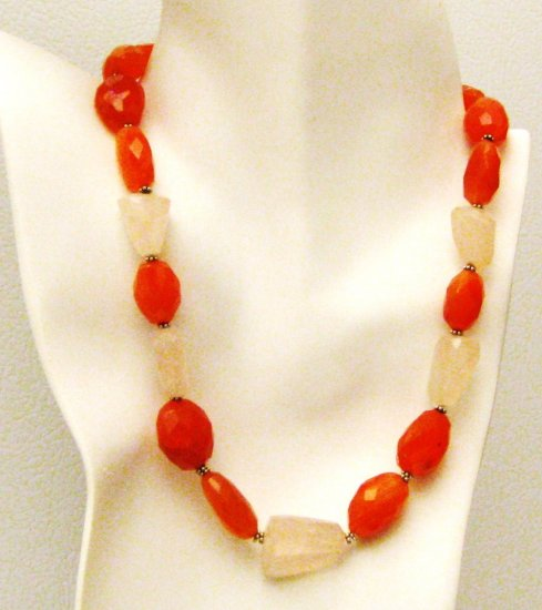 NK046       Rose Quartz and Carnelian Necklace in Sterling Silver