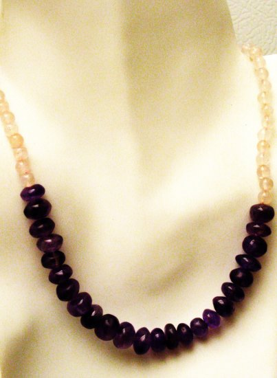 NK047       Rose Quartz and Amethyst necklace in Sterling Silver