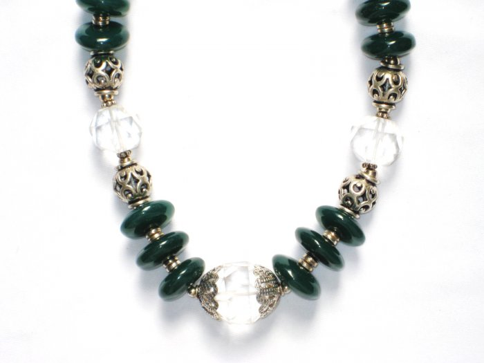 ST024       Green Onyx and CZ Necklace in Sterling Silver