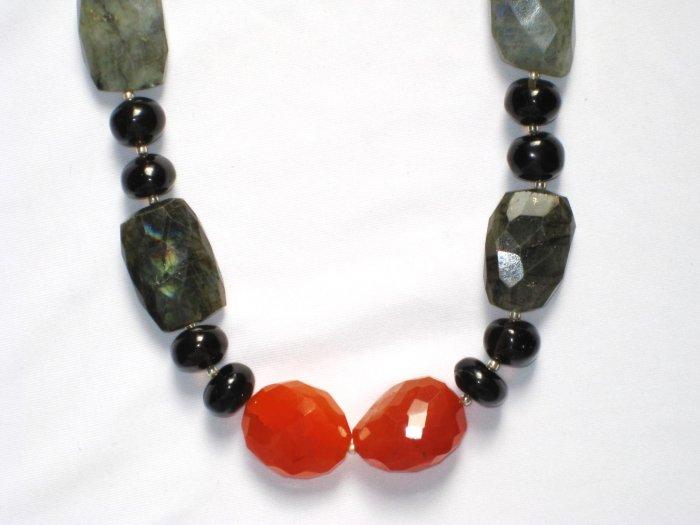 ST025       Orange Aventurine, Onyx and Labradorite Necklace in Sterling Silver