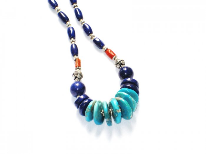 """ST036       Turquoise, Lapis Lazuli and Coral Necklace in Sterling Silver"""""""