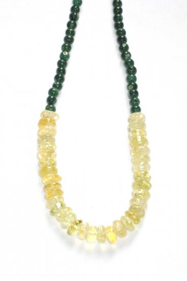 ST038       Citrine and Green Onyx Necklace in Sterling Silver