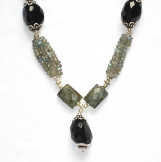 ST054       Labradorite and Onyx Necklace in Sterling Silver