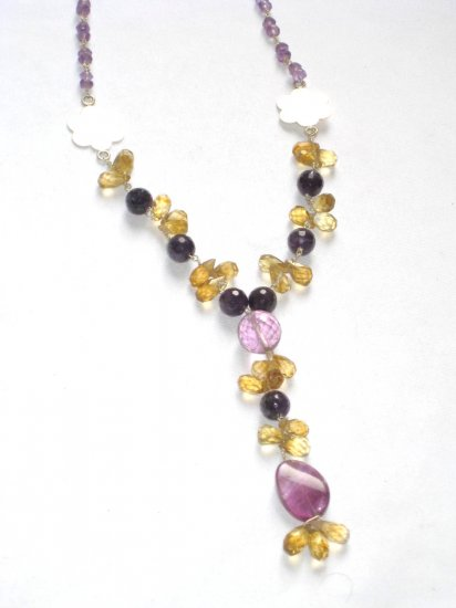 ST062       Amethyst, Onyx and Citrine Necklace in Sterling Silver