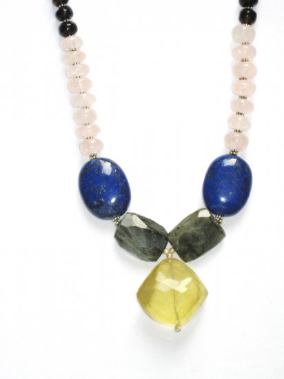ST063       Mixed Stones Necklace in Sterling Silver