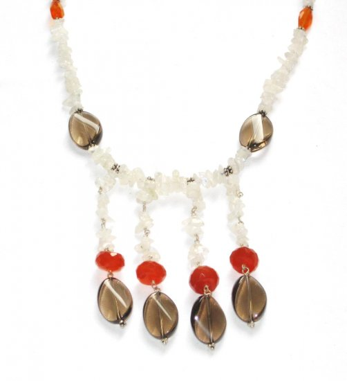 ST064       Moonstone, Carnelian and Smoky Quartz Necklace in Sterling Silver