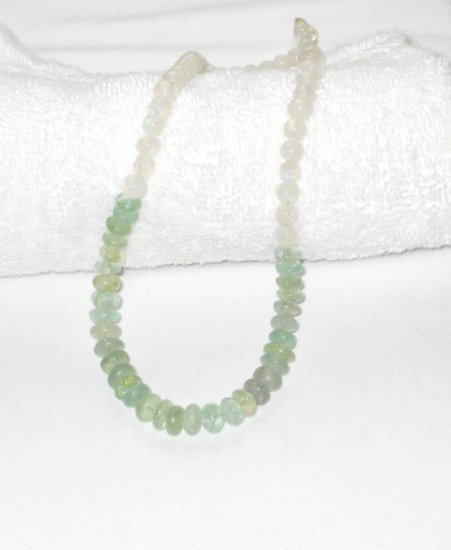 ST071       Moonstone and Jade Necklace in Sterling Silver
