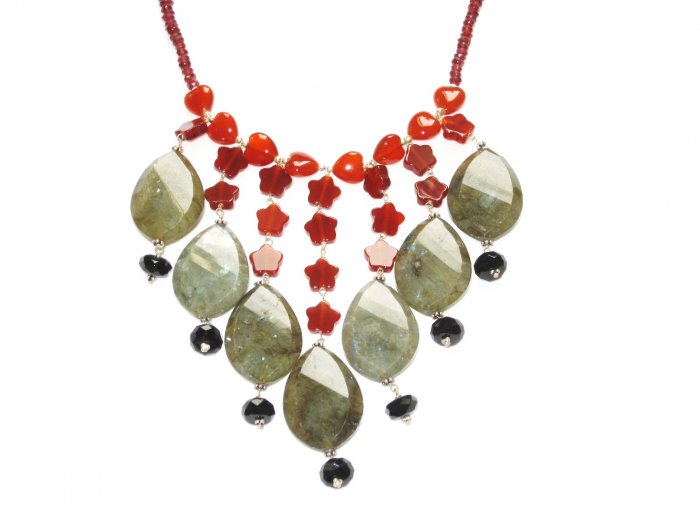 ST073       Mixed Stones Necklace in Sterling Silver