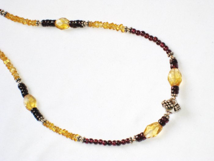 ST081       Citrine and Garnet Necklace in Sterling Silver