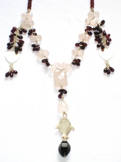 ST089       Rose Quartz and Garnet Necklace in Sterling Silver