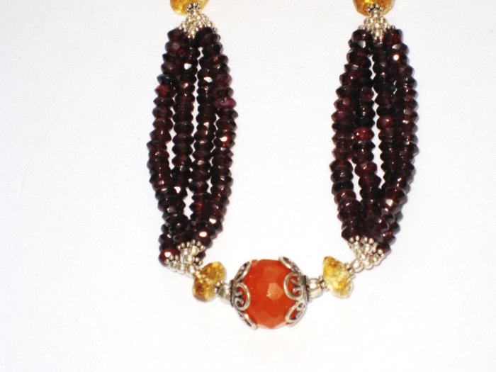 ST107       Carnelian and Garnet Necklace in Sterling Silver