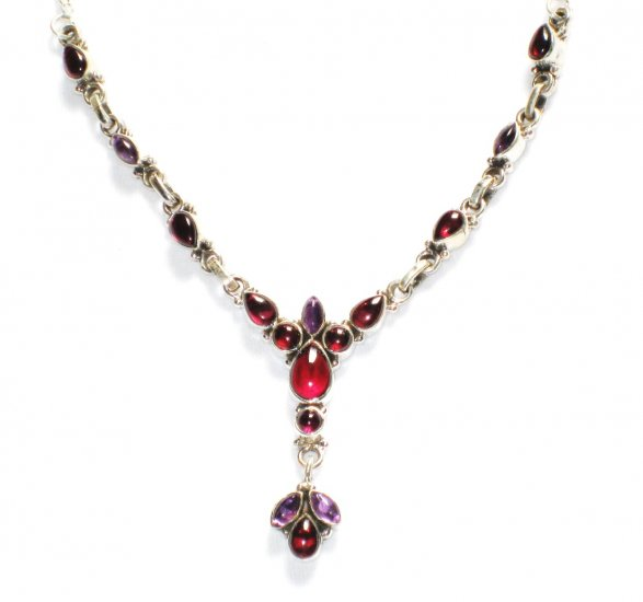ST201       Garnet and Amethyst Necklace in Sterling Silver
