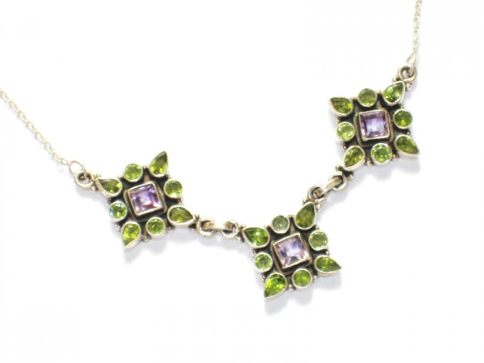 ST235       Peridot and Amethyst Cut Stone Necklace in Sterling Silver