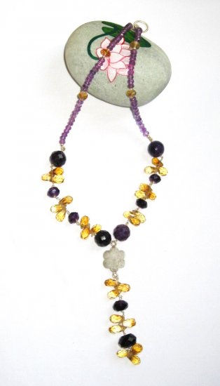 ST366       Citrine and Amethyst  Necklace in Sterling Silver