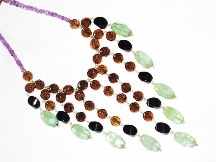 """ST431       Onyx, Smoky Quartz, Amethyst and AgateNecklace""""inSterlingSilver"""