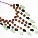 "ST431       Onyx, Smoky Quartz, Amethyst and AgateNecklace""inSterlingSilver"