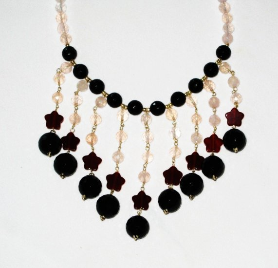 ST432       Red Jasper, Onyx and Rose Quartz  Necklace in Sterling Silver