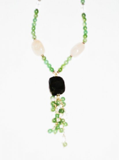 ST434       Jade, Rose Quartz and Onyx  Necklace in Sterling Silver
