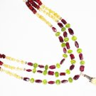 ST436       Citrine, Peridot and Garnet  Necklace in Sterling Silver