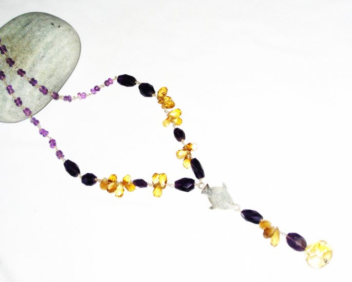 ST447       Citrine, Onyx and Amethsyt  Necklace in Sterling Silver