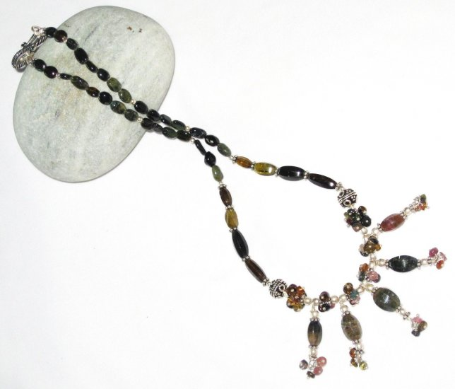 ST454       Mixed Stones  Necklace in Sterling Silver