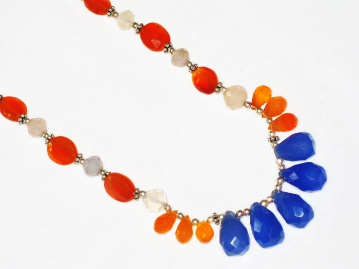 ST465       Mixed Stones  Necklace in Sterling Silver