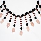 ST486       Rose Quartz, Garnet, Amethyst and Onyx  Necklace in Sterling Silver