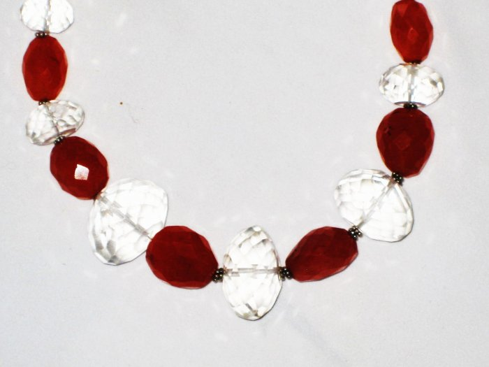 ST487       Carnelian and CZ  Necklace in Sterling Silver