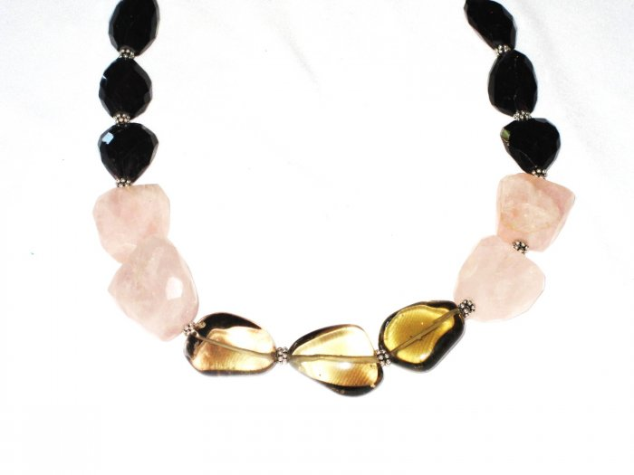 ST488       Rose Quartz, Smoky Quartz and Amethsyt  Necklace in Sterling Silver