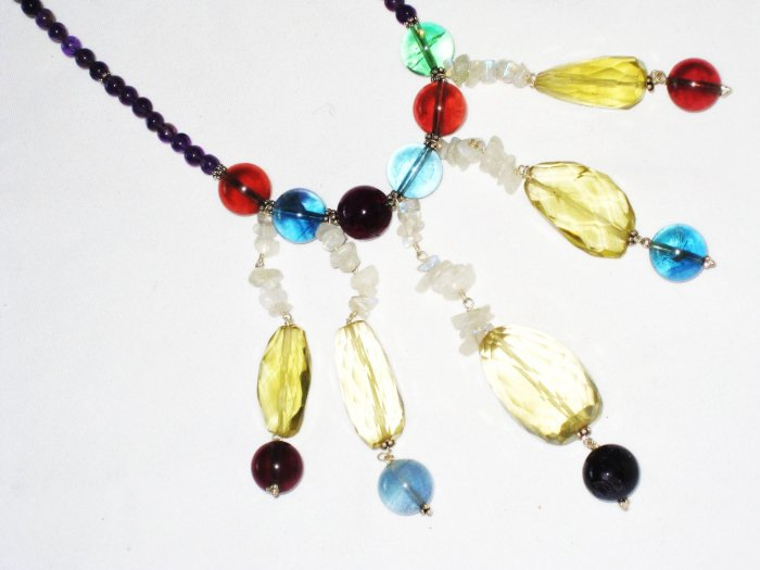 ST490       Mixed Stones  Necklace in Sterling Silver