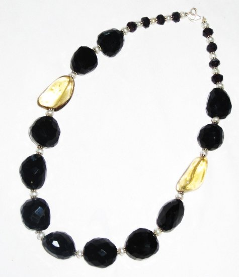 ST493       Onyx and Smoky Quartz  Necklace in Sterling Silver
