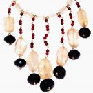 ST496       Onyx, Garnet and Rose Quartz  Necklace in Sterling Silver