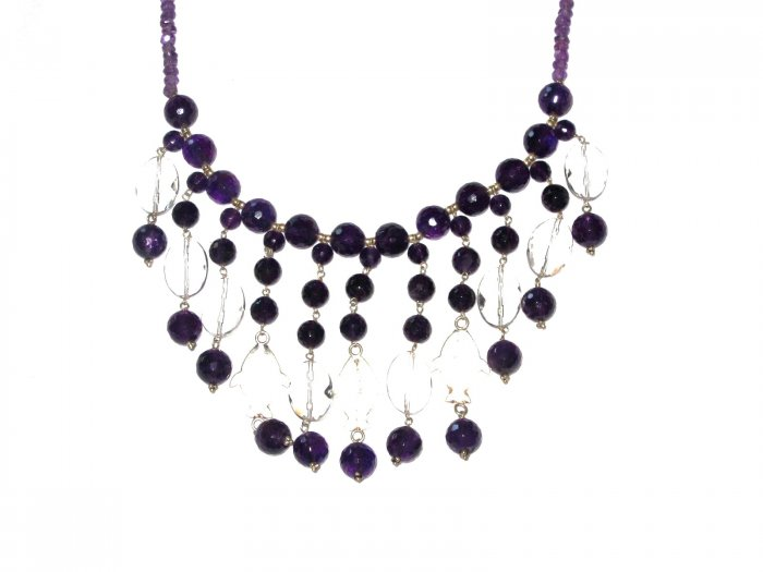 ST499       Amethyst, Onyx and CZ  Necklace in Sterling Silver
