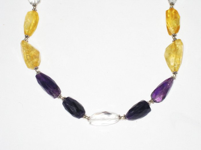 ST514       Smoky Quartz, Citrine, Amethyst and CZ  Necklace in Sterling Silver