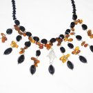 ST515       Onyx and Smoky Quartz  Necklace in Sterling Silver