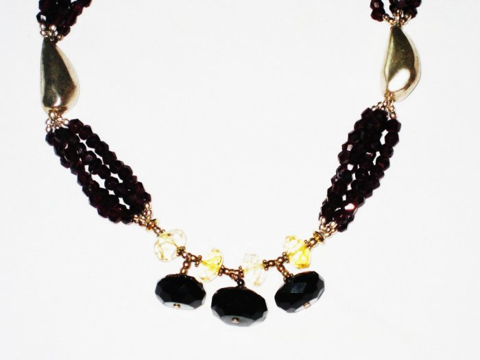 ST517       Garnet and Citrine  Necklace in Sterling Silver