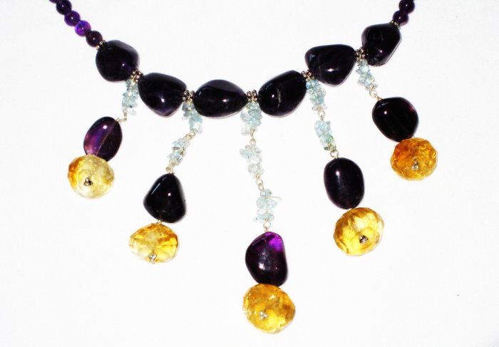 ST526       Amethyst, Citrine and Chalcedony  Necklace in Sterling Silver
