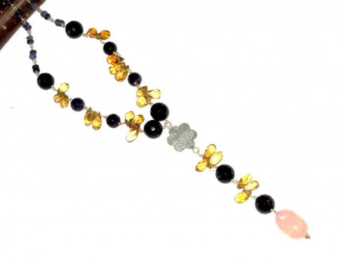 ST531       Citrine, Onyx and Rose Quartz  Necklace in Sterling Silver