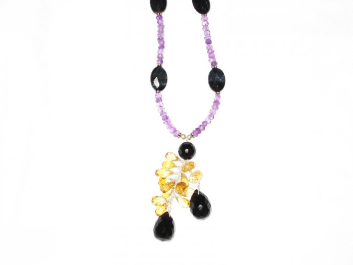 ST544       Smoky Quartz, Onyx and Amethyst  Necklace in Sterling Silver