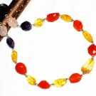 ST546       Citrine, Rose Quartz, Carnelian and Amethyst  Necklace in Sterling Silver