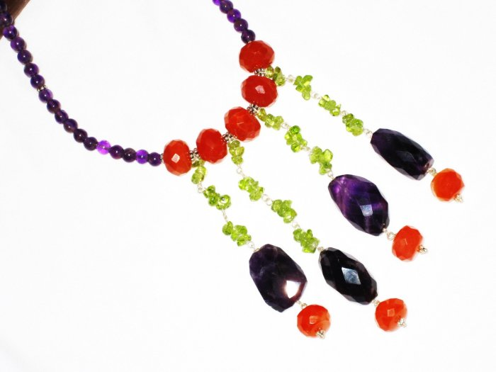 ST547       Carnelian, Amethyst, and Peridot  Necklace in Sterling Silver